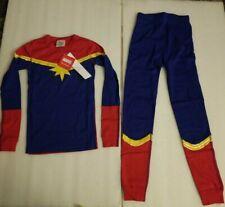 NWT Hanna Andersson Marvel Comics Captain Marvel kids Long John Pajamas Size 10