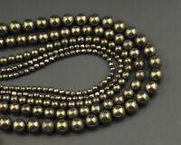 Natural Gemstone Beads Pyrite Stone Beads Round Beads 4mm 6mm 8mm 10mm 12mm 15''
