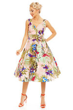 Women's Rockabilly 1950's retro vintage pink bird of paradise Swing dress