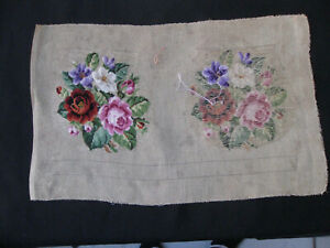 ANTIQUE/VINTAGE BAG EMBROIDERY, PETIT POINT, unfinished, craft, embroidery, sew.