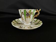 Dainty Teacup and Saucer (made in Japan) Lime Green and Gold stripes