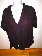 New Womens Express Top M Dark Purple Small Nice Work School Blouse SS Viscose