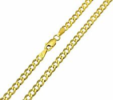 14K Real Yellow Gold 3.4mm Concave Curb Cuban Hollow Chain - 18 Inches