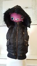 Parisian Black Faux Fur Hooded Teens Ladies Bodywarmer Gilet Size 8