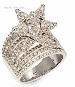 NIB$299 Atelier Swarovski Kalix Wide Ring palladium plating Pink Size 55 58