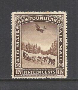 NEWFOUNDLAND SCOTT C9 MH F/VF - 1931 15c BROWN AIRMAIL ISSUE    CV $11.00