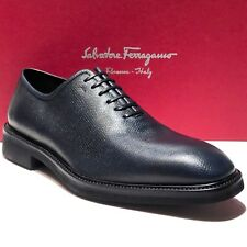 New Ferragamo Pebbled Leather FILOSOFO Oxford 7 EE Men's Dress Shoes Casual Navy