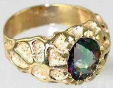 Mystic Fire Topaz 10KY or 14KY Gold Men's Ring-Handmade R168