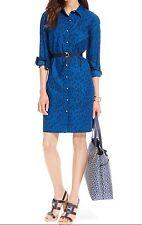 NWT TOMMY HILFIGER WOMENS BLUE COTTON LEOPARD PRINT SHIRT BELTED DRESS, SIZE XS