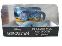 "Disney Lilo And Stitch ""Ohana Means Family"" Ceramic Mug & Spoon New In Box"