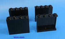 LEGO® 1x4x3  schwarze / Fenster Wand Panele   /  4 Stück