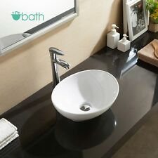 Bathroom Oval Vessel Sink Vanity Basin White Porcelain Ceramic Bowl Pop Up Drain