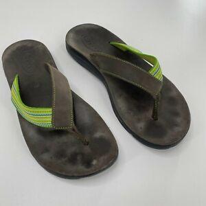 Chaco Men Sz 9 Finn Flip Size Green Leather Strap Thong Sandal Waterproof