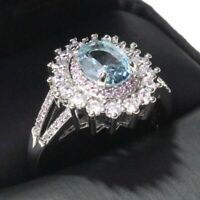 1.5 Ct Oval Aquamarine Ring Women Wedding Jewelry Gift 14K White Gold Plated