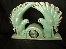 Ancienne horloge- pendule de cheminée-mécanique-en céramique-art déco-colombes