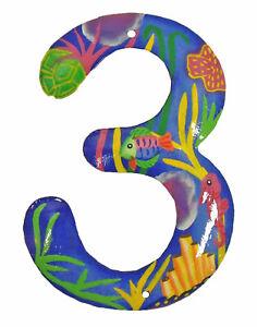Tropical Reef Address House Number Haitian Metal Art Number 3