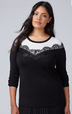 NEW Lane Bryant womens color block LACE TRIM SWEATER blouse 10/12 $70 top