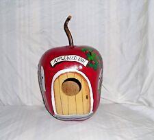 """Apple Seed Inn"" Gourd Birdhouse/Feeder Handpainted, bird house, apples"