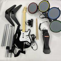 Xbox 360 Rock Band Guitar Hero Bundle Drum Set w/ Foot Pedal Microphone Sticks