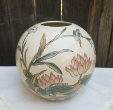 Vtg Toyo Round Orb Vase Japanese Water Lily Lotus Humming Bird Design