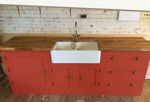 Painted Fired Earth Kitchen Unit Inc Taps , Oak Worktop And Double Belfast Sink