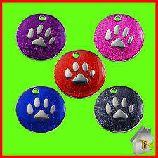 Personalised Engraved Dog Tag Glitter Paw Print Round Pet Cat ID Tag 25mm Tags