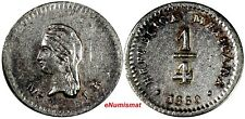 Mexico Federal Coinage Silver 1860 Mo LR 1/4 Real aUNC KM# 368.6 (17 754)