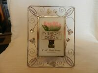 Silver Metal Tabletop Picture Frame Open Wire Design With Flowers & Butterflies
