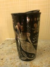 2017 Starbucks Black & Silver Siren Mermaid Ceramic Traveler Tumbler Mug 12 oz.