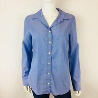J. Crew Womens Top Blouse Sz 10 Blue Everyday Shirt Button Front Long Sleeve