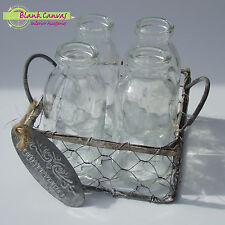 Rustic Vintage Style Shabby Chic x4 Bottles in Wire Basket Trug - NEW