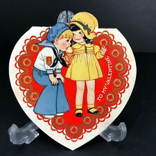Vtg Antique Valentines Day Card 1920's 30's USA Ice Cream Sailor Suit Boy Sweet