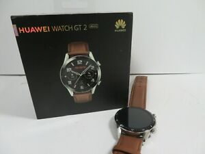 HUAWEI WATCH GT 2 46MM ANDROID SMARTWATCH SILVER CASE BROWN STRAP - {R:752}