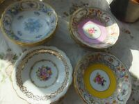Set of beautiful 9 plates Vintage or antique 5""