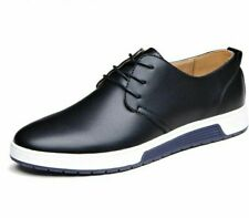 Casual Leather Shoes Men Flat Lace-up Breathable Solid Patterned Rubber Footwear