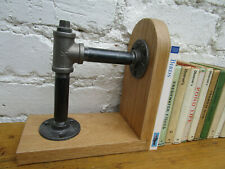 PERSONALISED Industrial Style bookend.Handmade from Iron & Wood.Gift any Name