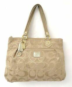Coach Poppy 17890 Signature Gold Metallic Lurex Glam Tote Bag Purse