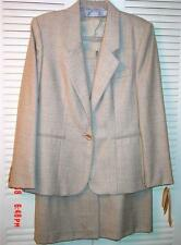 Vtg Evan Picone Beige All Season Suit 8 10 Business 2 Pc 100% Worsted Wool 1990s