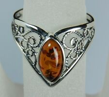 Genuine Baltic Honey Amber Chevron Ring in 925 Sterling Silver Size 5