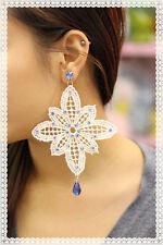 orecchini in pizzo macrame colore panna artigianali con strass*macrame earrings