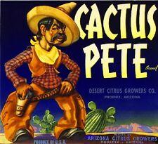 Phoenix Arizona Cactus Pete Orange Citrus Fruit Crate Label Art Print