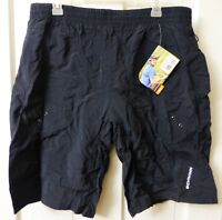 Mens LARGE Schwinn MOUNTAIN BIKE SHORTS Pockets Black Padded Lined Baggy Loose