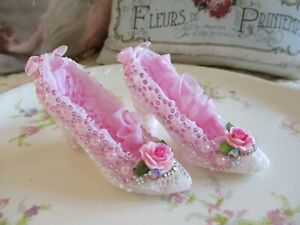 Shabby Chic Set of Miniature Lace Shoes with roses, rhinestones, and jewels