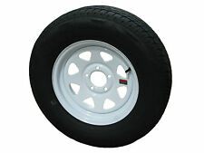 "*2* 205/75R15 LRC RN Radial Trailer Tires on 15"" 5 Lug White Spoke Wheels"
