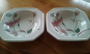 Mikasa Silk Flowers Lot of 4 Soup Cereal Bowls with Pink Flowers and Teal Leaves