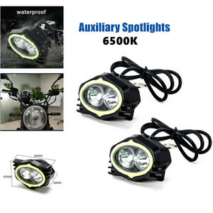 2PC×Spotlights Motorcycle Rearview Mirror Lamp 20W Motorcycle Lights White Light