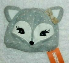 GYMBOREE GIRLS SZ 6 12 MONTHS ALL SPRUCED UP GRAY IVORY FOX KNIT BEANIE HAT