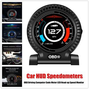 1×Car HUD Speedometers OBD Driving Computer Code Meter LCD Head-up Speed Monitor