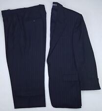 Hickey Freeman 40R Blue Pinstriped Suit Mens Wool Madison K837M K104 2 Button Sz
