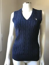 RALPH LAUREN Sport Navy  Cable Knit V Neck Pullover Vest Sweater Cotton small
